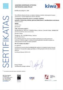 CE sertifikatas UAB Sumanio plytos